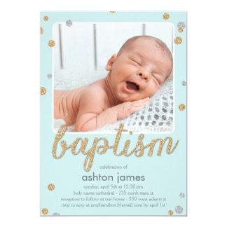 Fun Confetti Baptism Invitation - Blue
