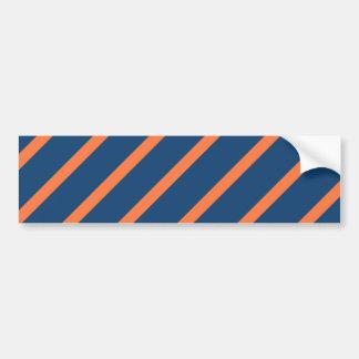 Fun Cool Blue and Orange Diagonal Stripes Bumper Sticker