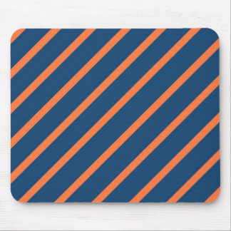 Fun Cool Blue and Orange Diagonal Stripes Mouse Pad