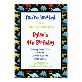 "Fun Cool Dinosaur Birthday Party Invitations 5"" X 7"" Invitation Card"