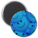 Fun Cool Happy Blue Smiley Faces 2 Inch Round Magnet