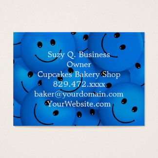 Fun Cool Happy Blue Smiley Faces Business Card