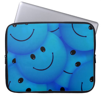 Fun Cool Happy Blue Smiley Faces Computer Sleeves