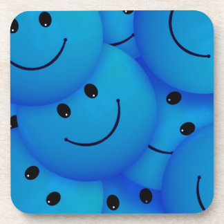 Fun Cool Happy Blue Smiley Faces Drink Coaster