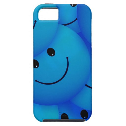 Fun Cool Happy Blue Smiley Faces iPhone 5 Cover