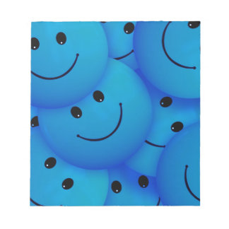 Fun Cool Happy Blue Smiley Faces Memo Notepads