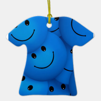 Fun Cool Happy Blue Smiley Faces Double-Sided T-Shirt Ceramic Christmas Ornament