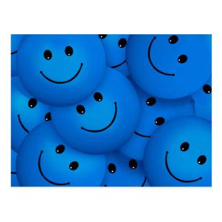 Fun Cool Happy Blue Smiley Faces Postcard
