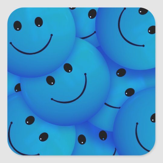 Fun Cool Happy Blue Smiley Faces Square Sticker