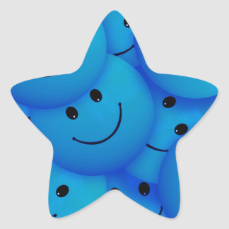 Fun Cool Happy Blue Smiley Faces Star Sticker