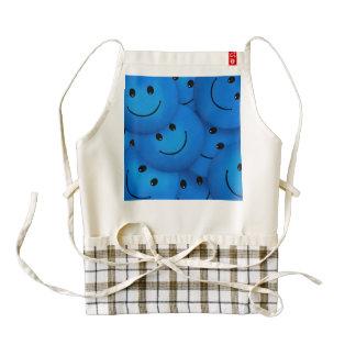 Fun Cool Happy Blue Smiley Faces Zazzle HEART Apron