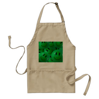 Fun Cool Happy green Smiley Faces Adult Apron