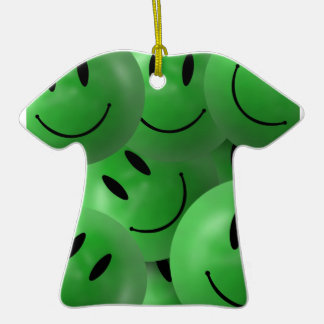 Fun Cool Happy green Smiley Faces Double-Sided T-Shirt Ceramic Christmas Ornament