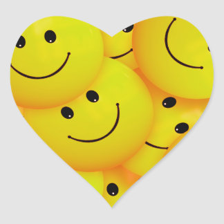 Fun Cool Happy Yellow Smiley Faces Heart Sticker