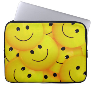 Fun Cool Happy Yellow Smiley Faces Laptop Sleeve