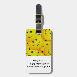 Fun Cool Happy Yellow Smiley Faces Luggage Tag
