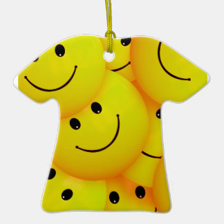 Fun Cool Happy Yellow Smiley Faces Double-Sided T-Shirt Ceramic Christmas Ornament