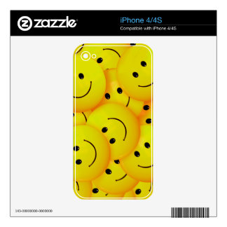 Fun Cool Happy Yellow Smiley Faces Skin For iPhone 4S
