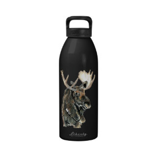 Fun Cool Moose listening to Music with Headphones Water Bottles
