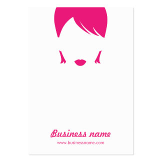 Fun Cool Pink White Female Face Earring Cards Business Cards