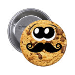 Fun Cool Quirky Trendy Cute Cookie Mustache Pinback Button