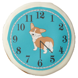 Fun Corgi Clock Sugar Cookie