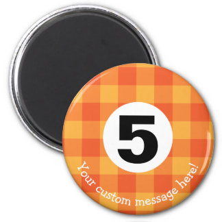 Fun Country Style Checkered Billiards Five Ball Magnet