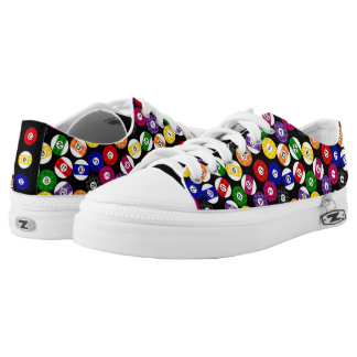 Fun Country Style Checkered Billiards Pattern Low-Top Sneakers