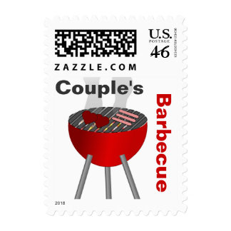 Fun Couple s Barbecue Party Stamp