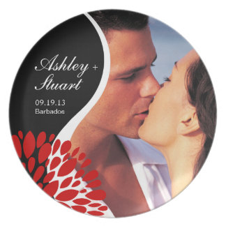 Fun Couples Photo Party | red black white Dinner Plate