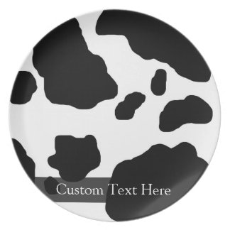 Fun Cow Print Personalized Dinner Plate