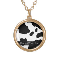 Fun Cow Print Personalized Gold Plated Necklace