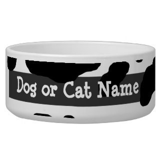 Fun Cow Print Personalized Dog Water Bowls