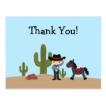 Fun cowboy western boy thank you postcard
