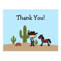 Fun cowboy western boy thank you postcard