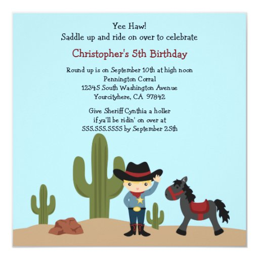"Fun cowboy western boys birthday party invitation 5.25"" square invitation card"