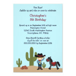 "Fun cowboy western boy's birthday party invitation 5"" x 7"" invitation card"