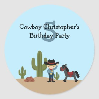 Fun cowboy western boy's birthday party stickers sticker