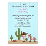 """Fun cowgirl western girl birthday party invitation 5"""" x 7"""" invitation card"""