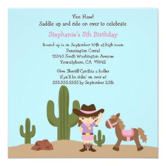 Fun cowgirl western girl birthday party invitation