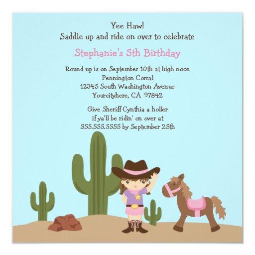 """Fun cowgirl western girl birthday party invitation 5.25"""" square invitation card"""