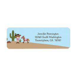 Fun cowgirl western girl return address labels