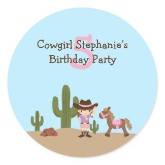 Fun cowgirl western girl's birthday party stickers sticker