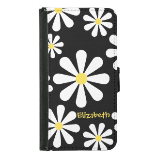 Fun Crazy Daisy Black White Yellow Personalized Wallet Phone Case For Samsung Galaxy S5