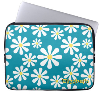Fun Crazy Daisy Blue White Yellow Personalized Laptop Computer Sleeve