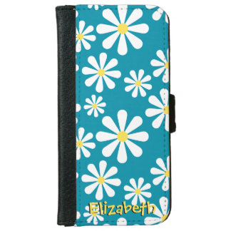 Fun Crazy Daisy Blue White Yellow Personalized Wallet Phone Case For iPhone 6/6s