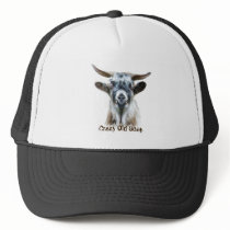 Fun Crazy Old Goat Farm Animal Quote. Trucker Hat