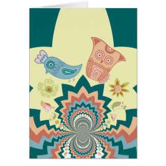 Fun Crazy Owl Birds Chevron Pattern Card