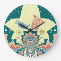Fun Crazy Owl Birds Chevron Pattern Large Clock