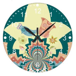 Fun Crazy Owl Birds Chevron Pattern Large Clock